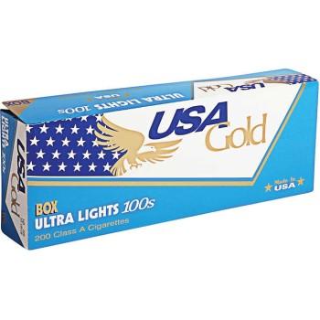 USA Gold Blue Ultra Lights 100s Box